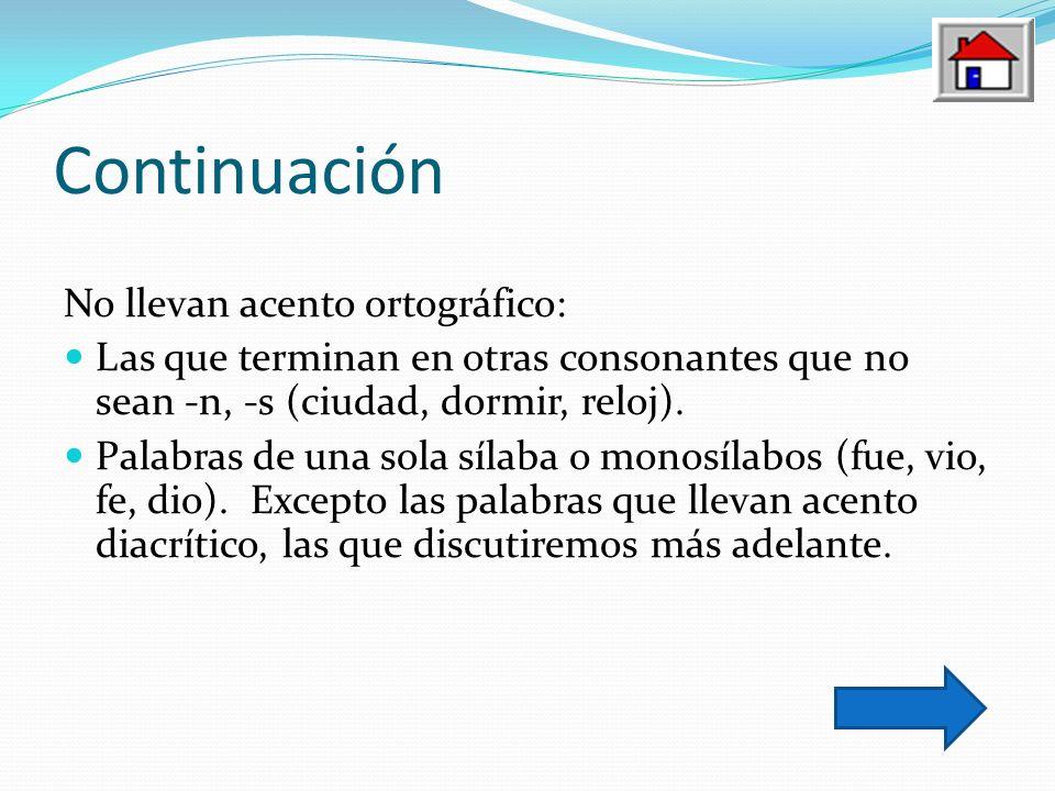 Continuación No llevan acento ortográfico: Las que terminan en otras consonantes que no sean -n, -s (ciudad, dormir, reloj). Palabras de una sola síla