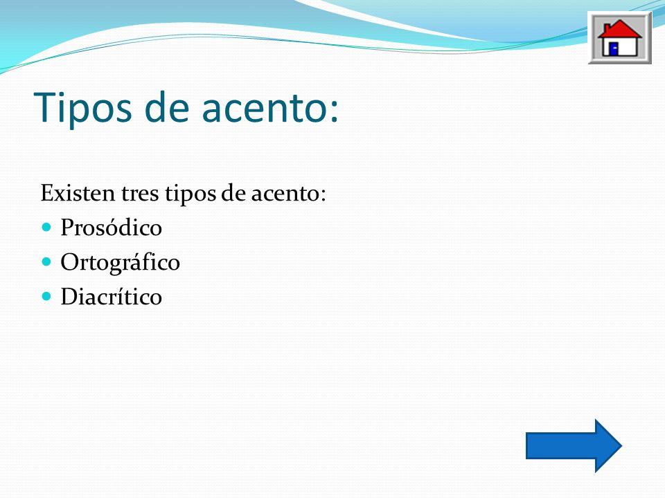 Tipos de acento: Existen tres tipos de acento: Prosódico Ortográfico Diacrítico