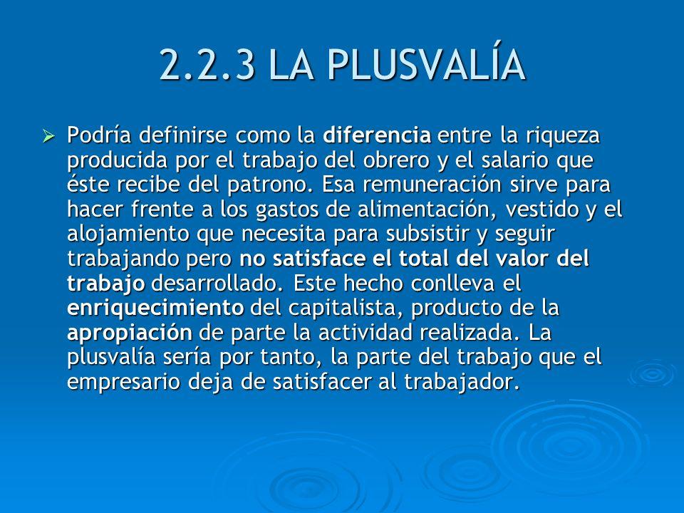 2.2.3 LA PLUSVALÍA Podría definirse como la diferencia entre la riqueza producida por el trabajo del obrero y el salario que éste recibe del patrono.
