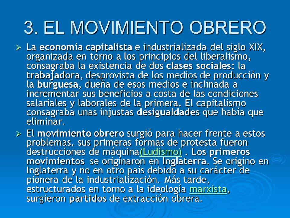 3. EL MOVIMIENTO OBRERO La economía capitalista e industrializada del siglo XIX, organizada en torno a los principios del liberalismo, consagraba la e