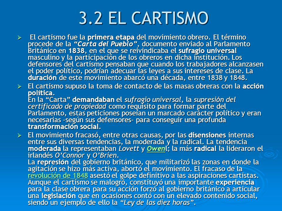 3.2 EL CARTISMO El cartismo fue la primera etapa del movimiento obrero. El término procede de la Carta del Pueblo, documento enviado al Parlamento Bri