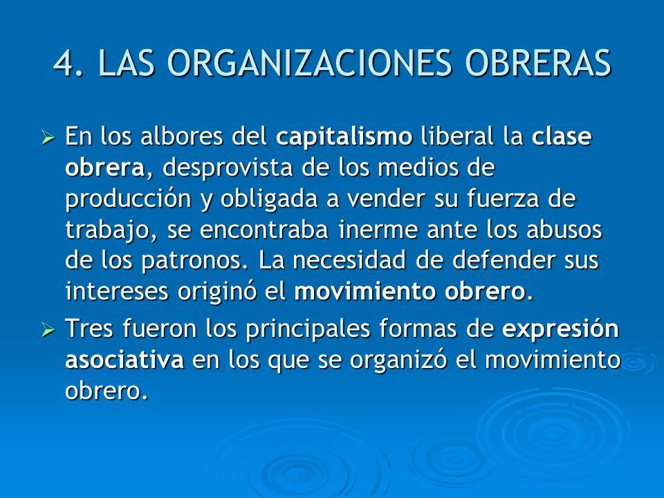 4. LAS ORGANIZACIONES OBRERAS En los albores del capitalismo liberal la clase obrera, desprovista de los medios de producción y obligada a vender su f