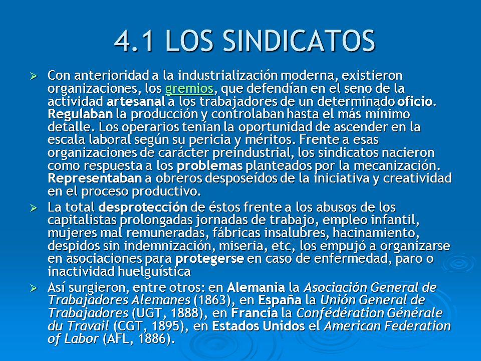 4.1 LOS SINDICATOS Con anterioridad a la industrialización moderna, existieron organizaciones, los gremios, que defendían en el seno de la actividad a
