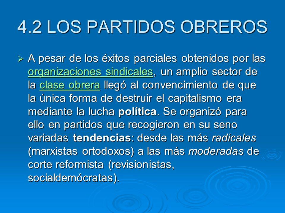 4.2 LOS PARTIDOS OBREROS A pesar de los éxitos parciales obtenidos por las organizaciones sindicales, un amplio sector de la clase obrera llegó al con