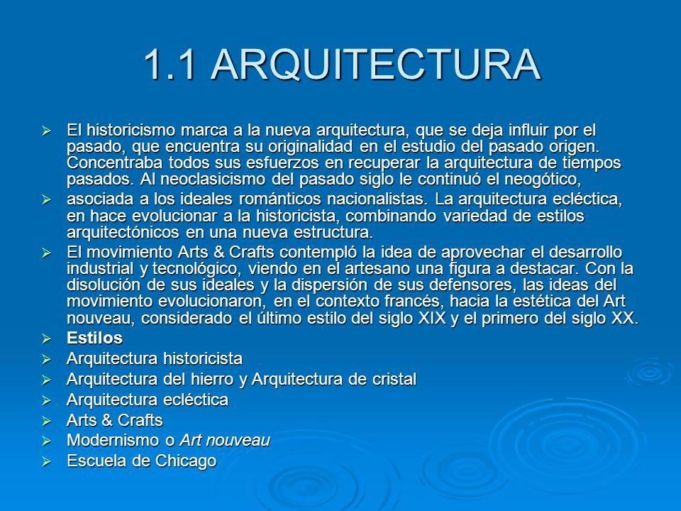 1.1 ARQUITECTURA El historicismo marca a la nueva arquitectura, que se deja influir por el pasado, que encuentra su originalidad en el estudio del pas