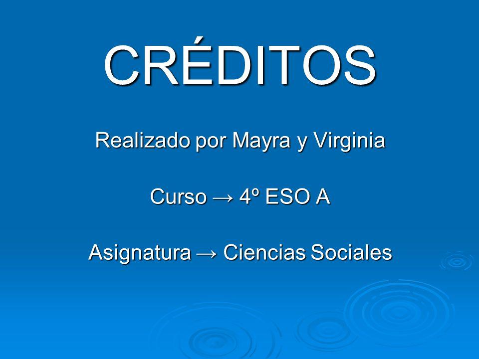 CRÉDITOS Realizado por Mayra y Virginia Curso 4º ESO A Asignatura Ciencias Sociales