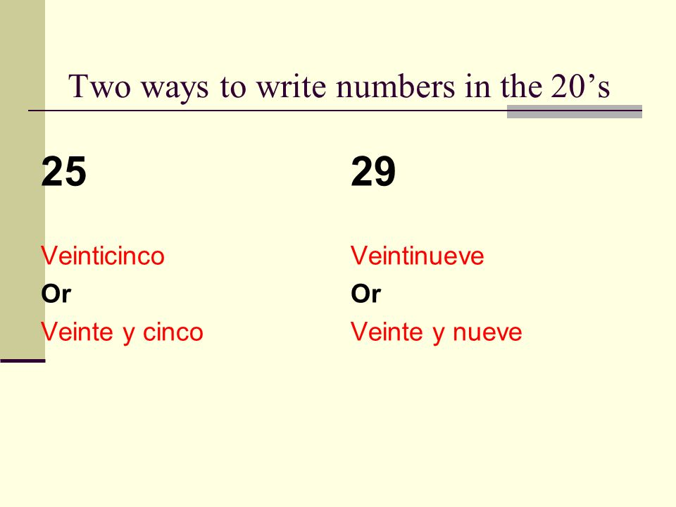 Two ways to write numbers in the 20s 25 Veinticinco Or Veinte y cinco 29 Veintinueve Or Veinte y nueve