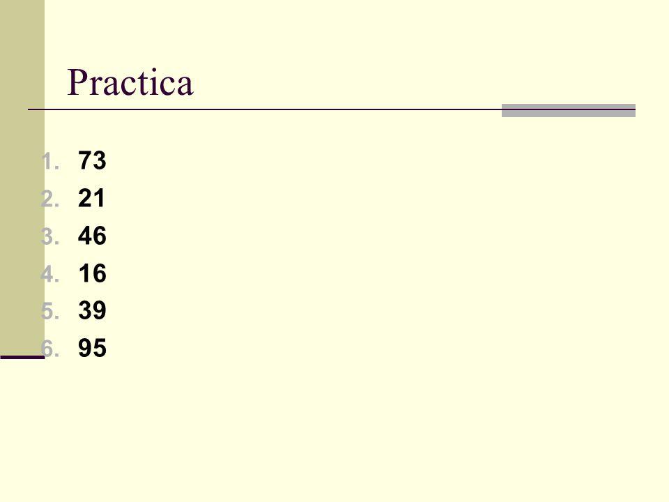 Practica 1. 73 2. 21 3. 46 4. 16 5. 39 6. 95
