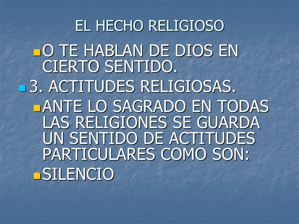 EL HECHO RELIGIOSO O TE HABLAN DE DIOS EN CIERTO SENTIDO. O TE HABLAN DE DIOS EN CIERTO SENTIDO. 3. ACTITUDES RELIGIOSAS. 3. ACTITUDES RELIGIOSAS. ANT
