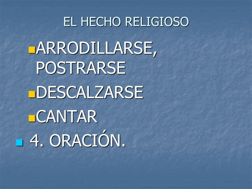 EL HECHO RELIGIOSO ARRODILLARSE, POSTRARSE ARRODILLARSE, POSTRARSE DESCALZARSE DESCALZARSE CANTAR CANTAR 4. ORACIÓN. 4. ORACIÓN.
