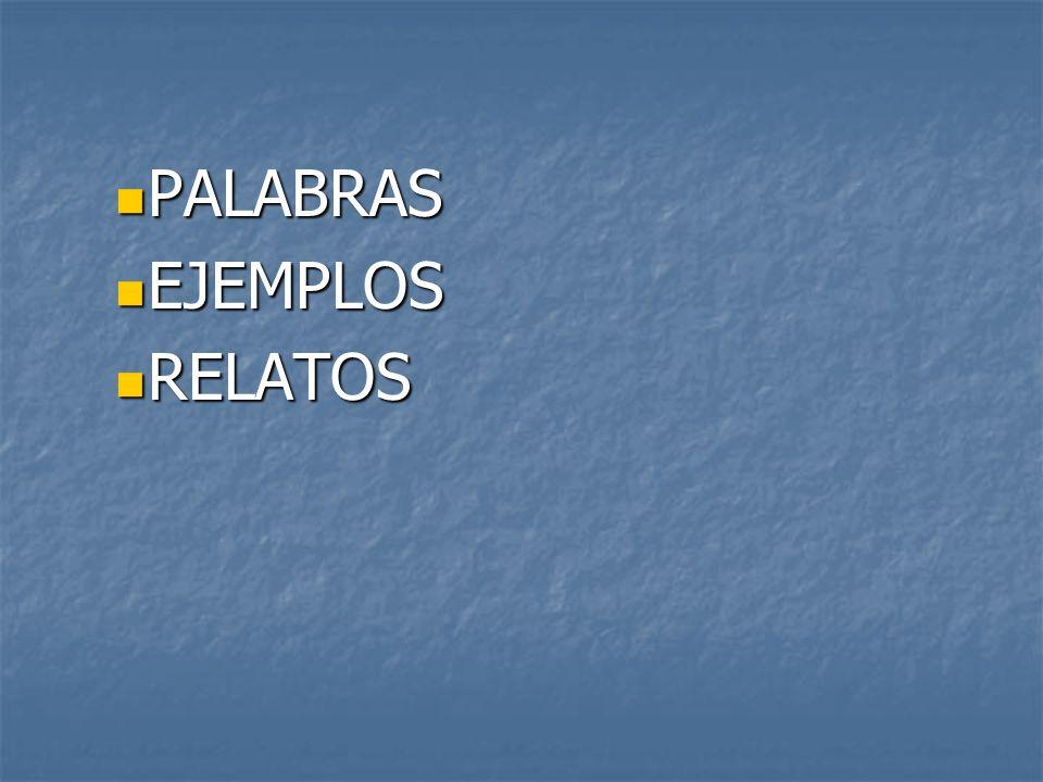 PALABRAS PALABRAS EJEMPLOS EJEMPLOS RELATOS RELATOS