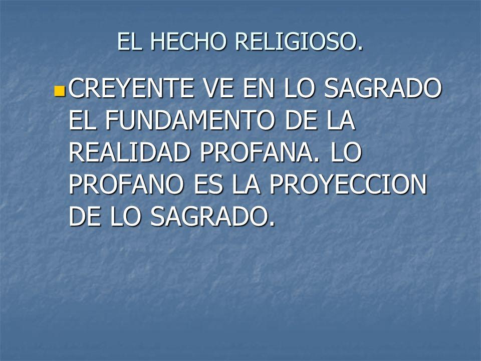 EL HECHO RELIGIOSO. CREYENTE VE EN LO SAGRADO EL FUNDAMENTO DE LA REALIDAD PROFANA. LO PROFANO ES LA PROYECCION DE LO SAGRADO. CREYENTE VE EN LO SAGRA