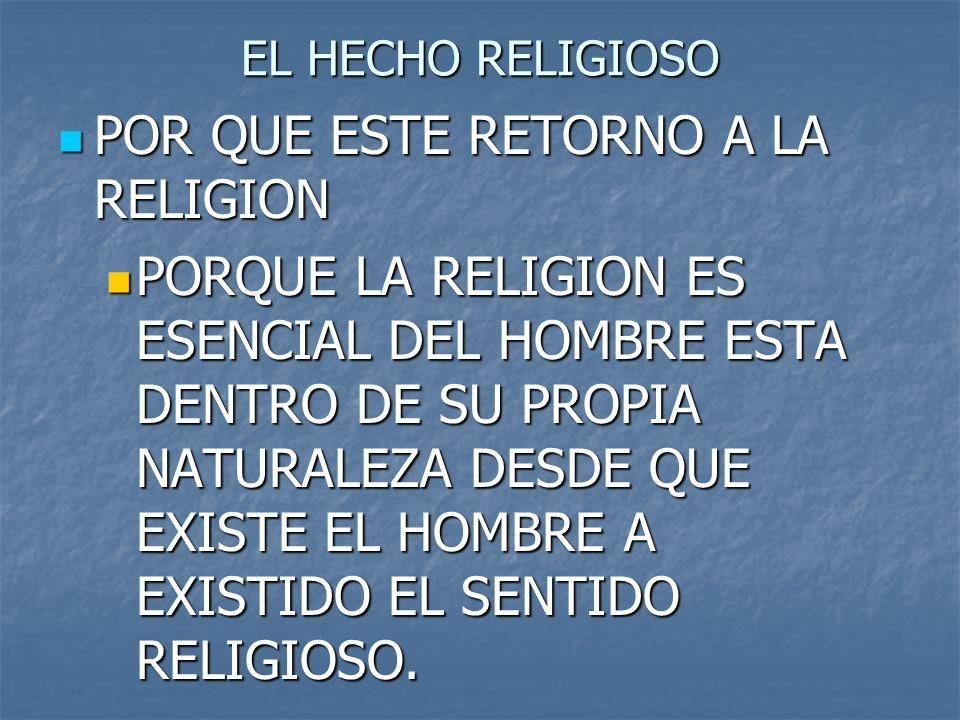 EL HECHO RELIGIOSO POR QUE ESTE RETORNO A LA RELIGION POR QUE ESTE RETORNO A LA RELIGION PORQUE LA RELIGION ES ESENCIAL DEL HOMBRE ESTA DENTRO DE SU P
