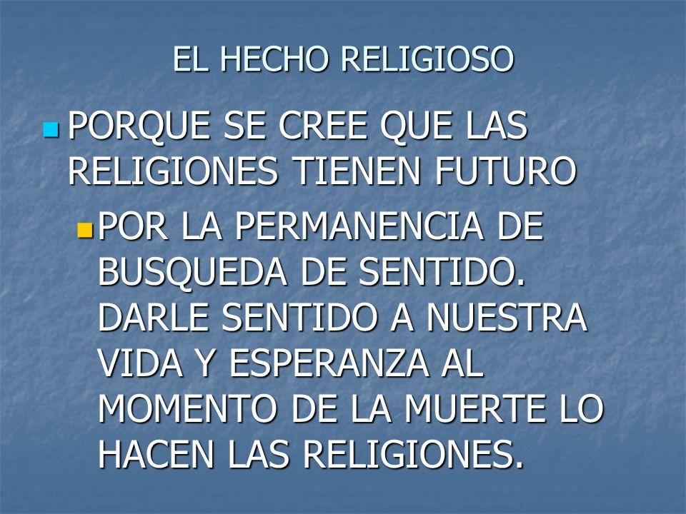 EL HECHO RELIGIOSO PORQUE SE CREE QUE LAS RELIGIONES TIENEN FUTURO PORQUE SE CREE QUE LAS RELIGIONES TIENEN FUTURO POR LA PERMANENCIA DE BUSQUEDA DE S