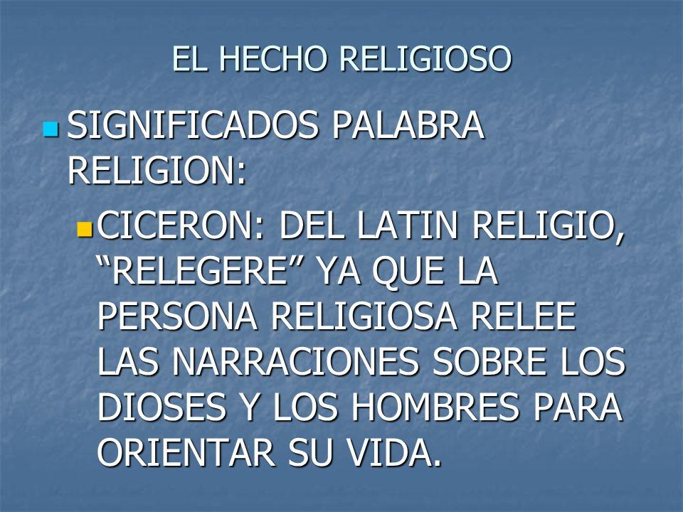EL HECHO RELIGIOSO SIGNIFICADOS PALABRA RELIGION: SIGNIFICADOS PALABRA RELIGION: CICERON: DEL LATIN RELIGIO, RELEGERE YA QUE LA PERSONA RELIGIOSA RELE