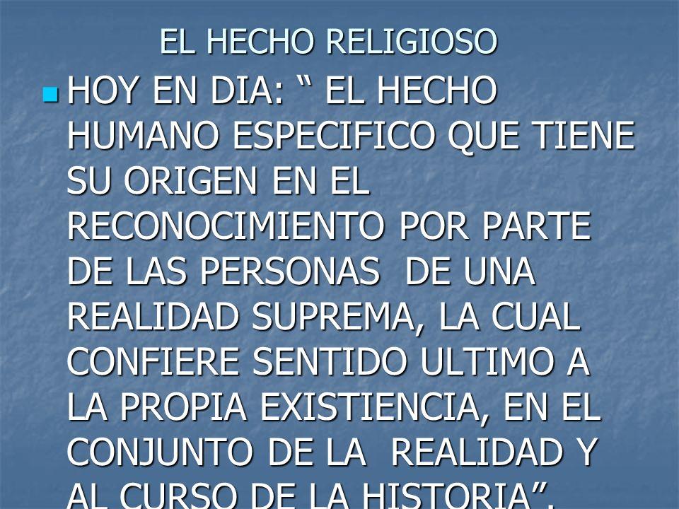 EL HECHO RELIGIOSO HOY EN DIA: EL HECHO HUMANO ESPECIFICO QUE TIENE SU ORIGEN EN EL RECONOCIMIENTO POR PARTE DE LAS PERSONAS DE UNA REALIDAD SUPREMA,