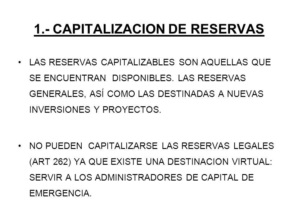 1.- CAPITALIZACION DE RESERVAS LAS RESERVAS CAPITALIZABLES SON AQUELLAS QUE SE ENCUENTRAN DISPONIBLES. LAS RESERVAS GENERALES, ASÍ COMO LAS DESTINADAS