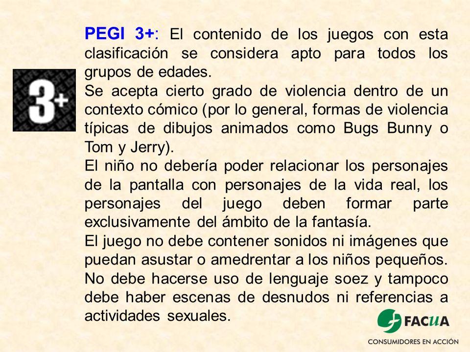 PEGI 3+: El contenido de los juegos con esta clasificación se considera apto para todos los grupos de edades. Se acepta cierto grado de violencia dent