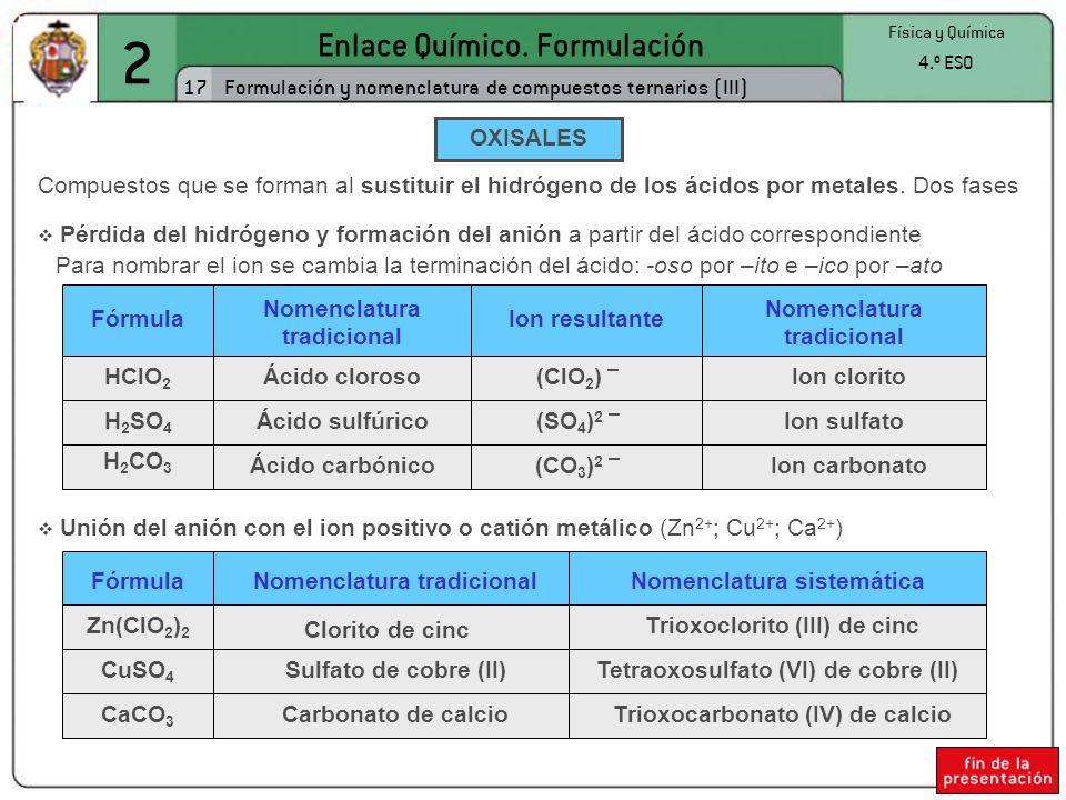 2 Enlace Químico. Formulación 17 Física y Química 4.º ESO Formulación y nomenclatura de compuestos ternarios (III) OXISALES Compuestos que se forman a