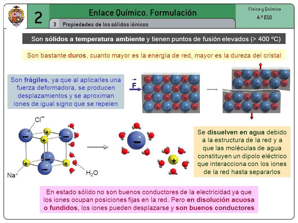 F Na + Cl – H2OH2O 2 Enlace Químico. Formulación 3 Física y Química 4.º ESO Propiedades de los sólidos iónicos Son sólidos a temperatura ambiente y ti