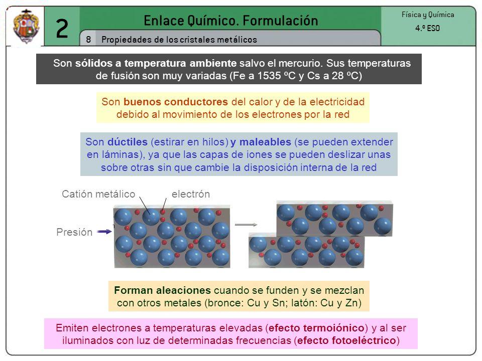 2 Enlace Químico. Formulación 8 Física y Química 4.º ESO Propiedades de los cristales metálicos Son sólidos a temperatura ambiente salvo el mercurio.