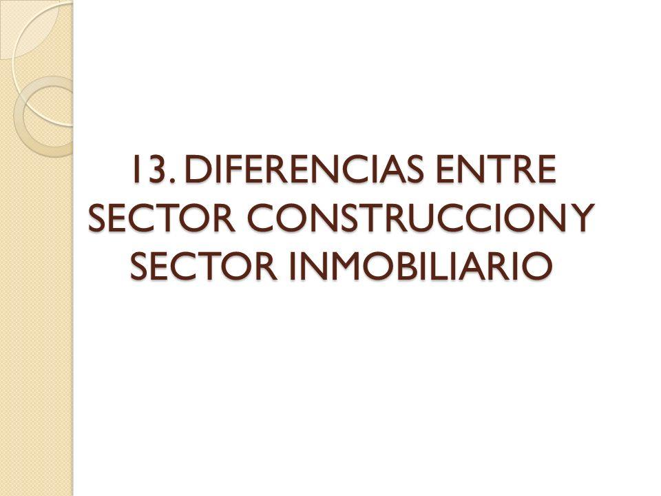 13. DIFERENCIAS ENTRE SECTOR CONSTRUCCION Y SECTOR INMOBILIARIO
