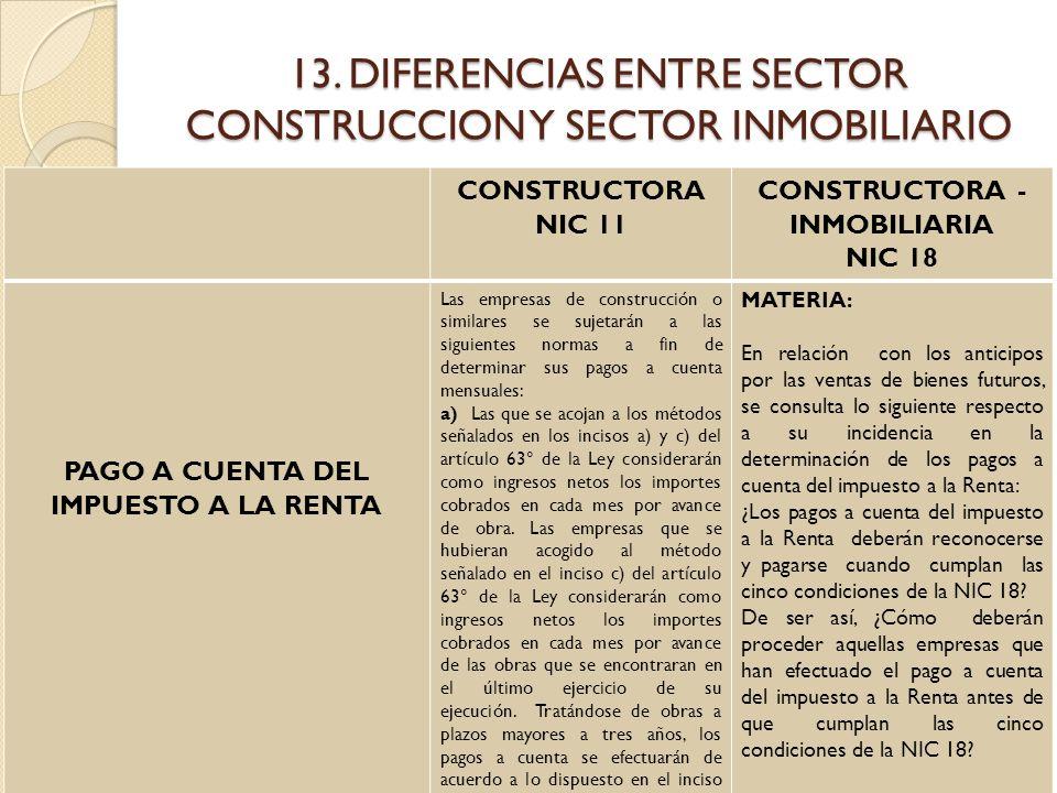 13. DIFERENCIAS ENTRE SECTOR CONSTRUCCION Y SECTOR INMOBILIARIO CONSTRUCTORA NIC 11 CONSTRUCTORA - INMOBILIARIA NIC 18 PAGO A CUENTA DEL IMPUESTO A LA