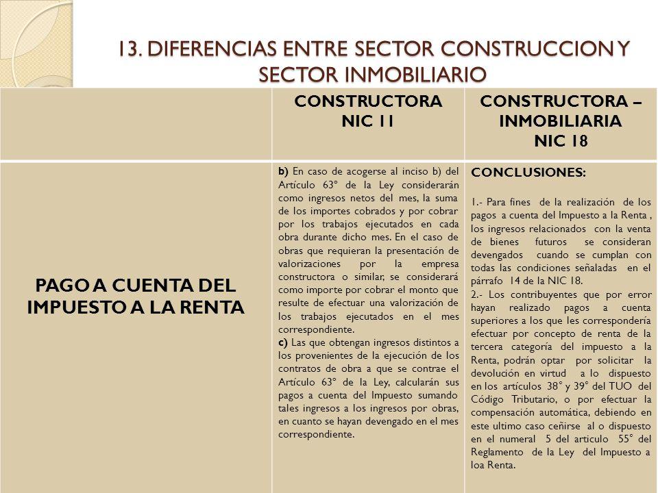 13. DIFERENCIAS ENTRE SECTOR CONSTRUCCION Y SECTOR INMOBILIARIO CONSTRUCTORA NIC 11 CONSTRUCTORA – INMOBILIARIA NIC 18 PAGO A CUENTA DEL IMPUESTO A LA