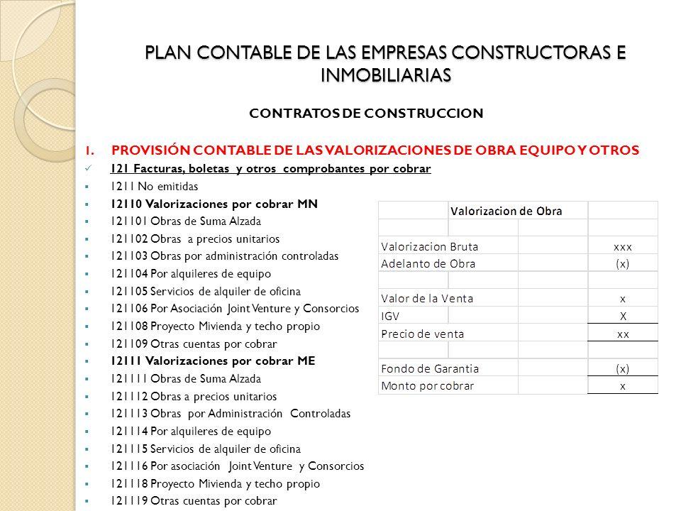 PLAN CONTABLE DE LAS EMPRESAS CONSTRUCTORAS E INMOBILIARIAS CONTRATOS DE CONSTRUCCION 1. PROVISIÓN CONTABLE DE LAS VALORIZACIONES DE OBRA EQUIPO Y OTR