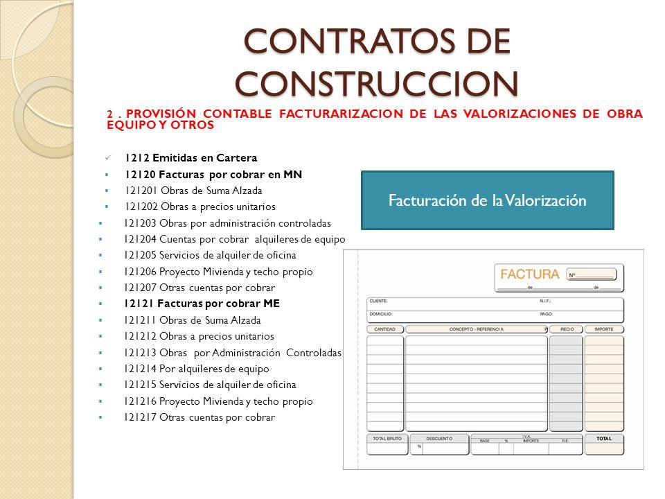 CONTRATOS DE CONSTRUCCION 2. PROVISIÓN CONTABLE FACTURARIZACION DE LAS VALORIZACIONES DE OBRA EQUIPO Y OTROS 1212 Emitidas en Cartera 12120 Facturas p