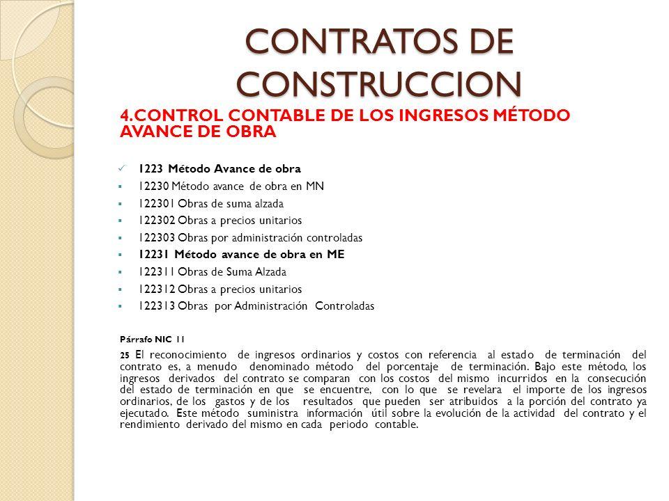 CONTRATOS DE CONSTRUCCION 4.CONTROL CONTABLE DE LOS INGRESOS MÉTODO AVANCE DE OBRA 1223 Método Avance de obra 12230 Método avance de obra en MN 122301