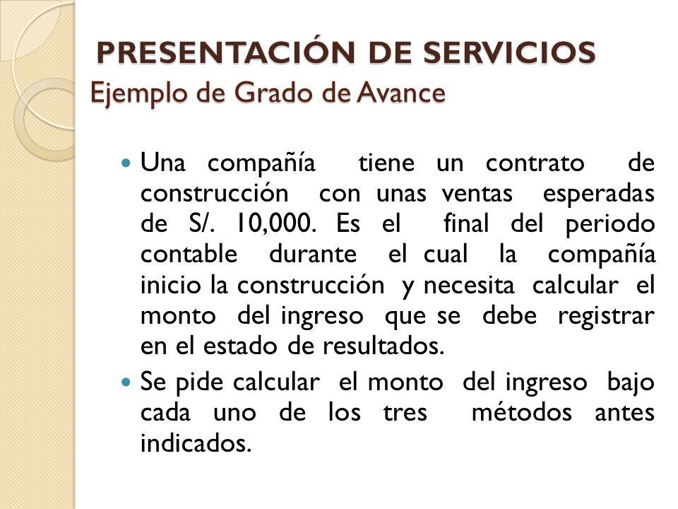 Ejemplo de Grado de Avance Una compañía tiene un contrato de construcción con unas ventas esperadas de S/. 10,000. Es el final del periodo contable du