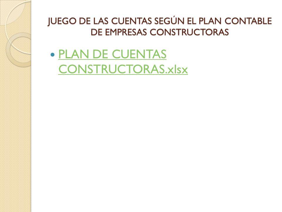 JUEGO DE LAS CUENTAS SEGÚN EL PLAN CONTABLE DE EMPRESAS CONSTRUCTORAS PLAN DE CUENTAS CONSTRUCTORAS.xlsx PLAN DE CUENTAS CONSTRUCTORAS.xlsx