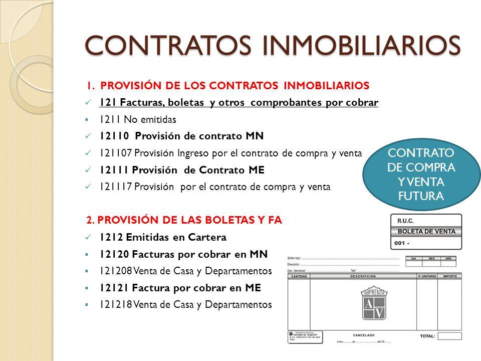 CONTRATOS INMOBILIARIOS 1. PROVISIÓN DE LOS CONTRATOS INMOBILIARIOS 121 Facturas, boletas y otros comprobantes por cobrar 1211 No emitidas 12110 Provi