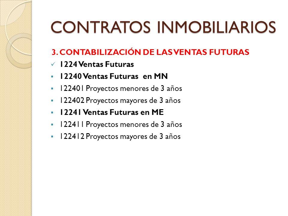 CONTRATOS INMOBILIARIOS 3. CONTABILIZACIÓN DE LAS VENTAS FUTURAS 1224 Ventas Futuras 12240 Ventas Futuras en MN 122401 Proyectos menores de 3 años 122