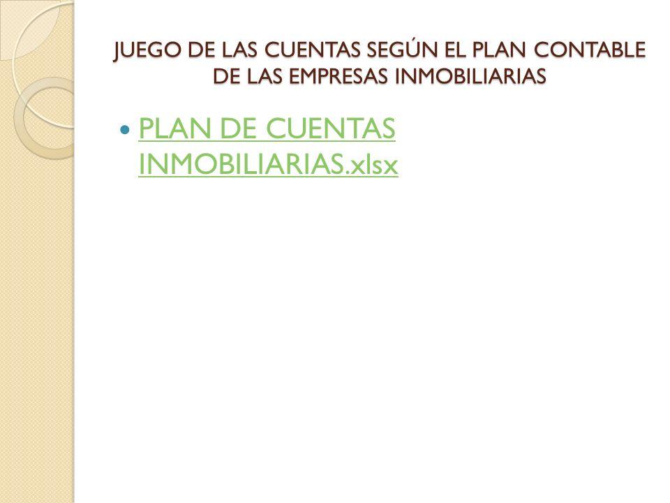 JUEGO DE LAS CUENTAS SEGÚN EL PLAN CONTABLE DE LAS EMPRESAS INMOBILIARIAS PLAN DE CUENTAS INMOBILIARIAS.xlsx PLAN DE CUENTAS INMOBILIARIAS.xlsx