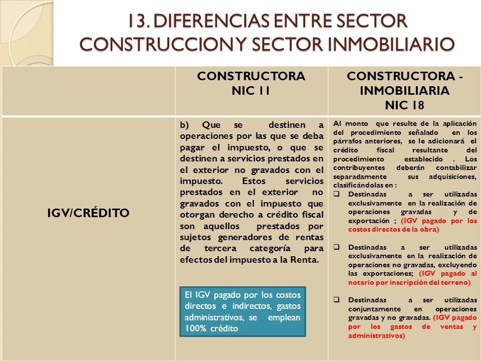 13. DIFERENCIAS ENTRE SECTOR CONSTRUCCION Y SECTOR INMOBILIARIO CONSTRUCTORA NIC 11 CONSTRUCTORA - INMOBILIARIA NIC 18 IGV/CRÉDITO b) Que se destinen