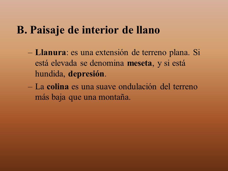 B. Paisaje de interior de llano –Llanura: es una extensión de terreno plana. Si está elevada se denomina meseta, y si está hundida, depresión. –La col