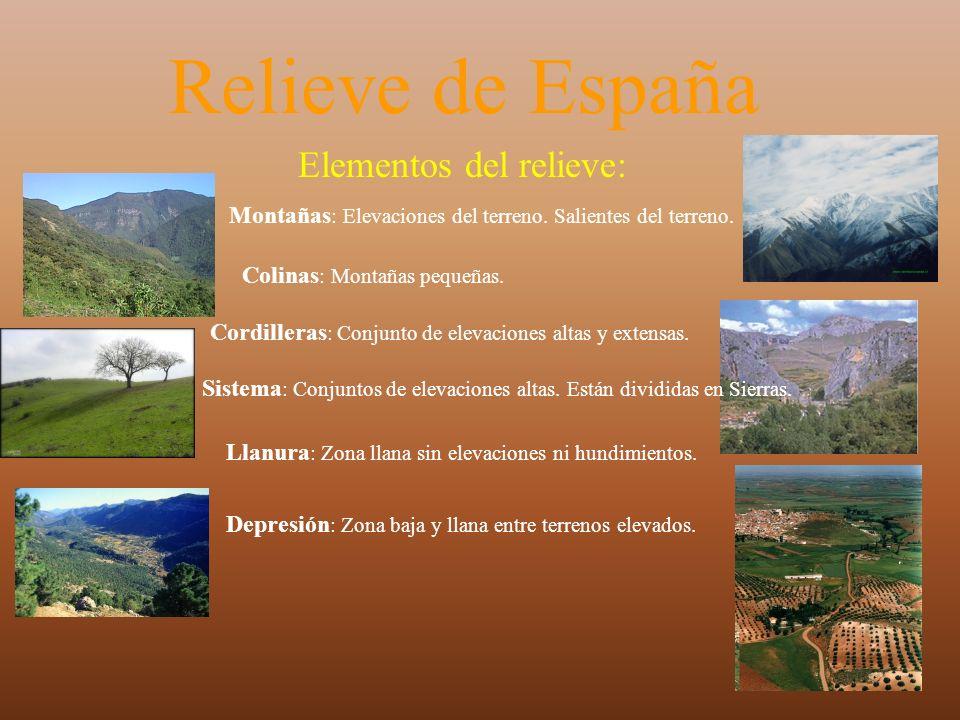 Relieve de España Elementos del relieve: Montañas : Elevaciones del terreno. Salientes del terreno. Colinas : Montañas pequeñas. Cordilleras : Conjunt