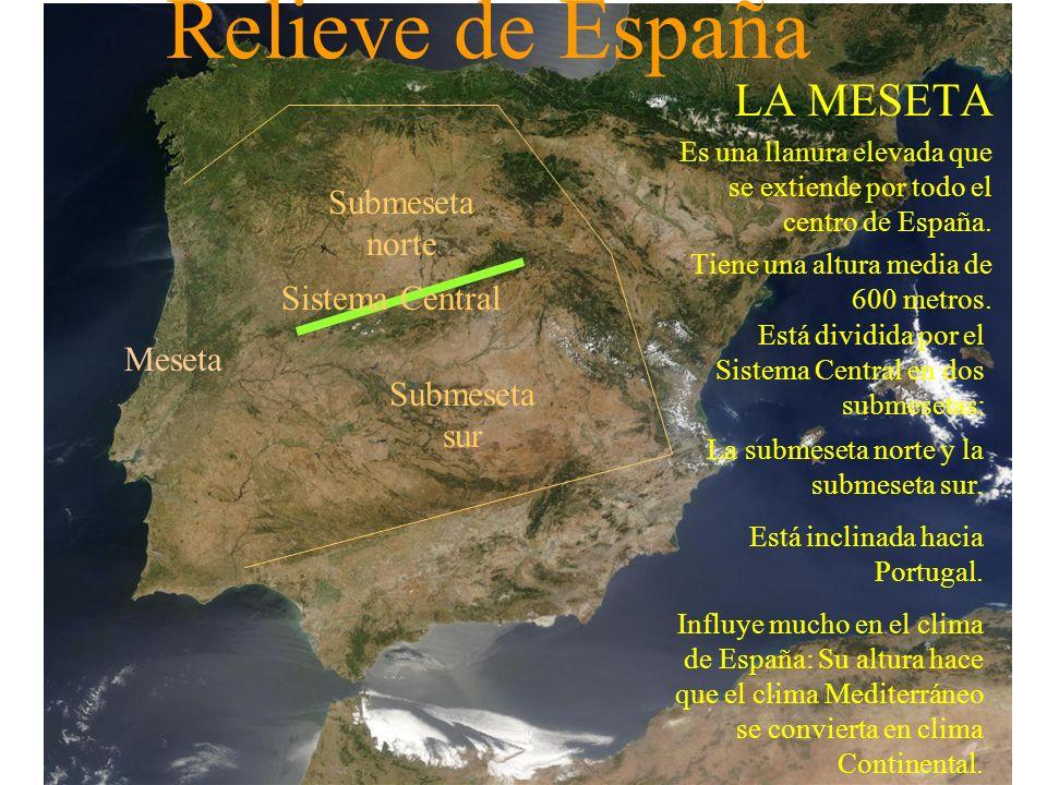 Relieve de España LAS MONTAÑAS Como la unidad más importante es la Meseta, las montañas se dividen en: Las montañas que rodean a la Meseta la convierten en una fortaleza amurallada con gran influencia en el clima y en las comunicaciones por carretera.
