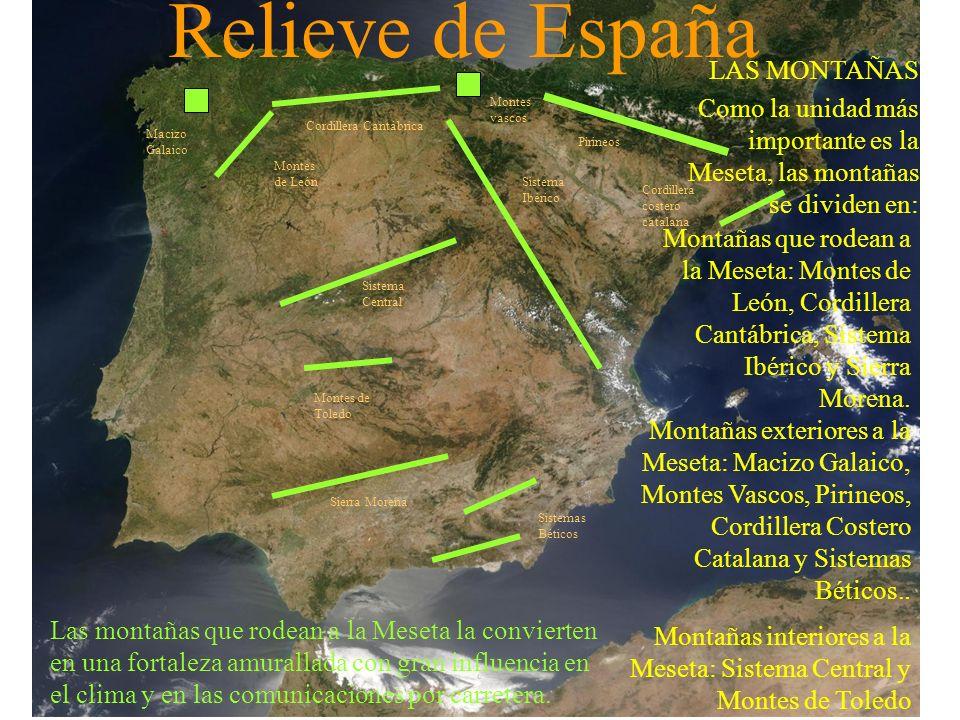 Relieve de España LAS MONTAÑAS Como la unidad más importante es la Meseta, las montañas se dividen en: Las montañas que rodean a la Meseta la conviert