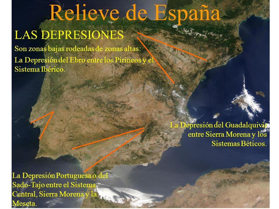 Relieve de España LAS DEPRESIONES Son zonas bajas rodeadas de zonas altas: La Depresión del Ebro entre los Pirineos y el Sistema Ibérico. La Depresión