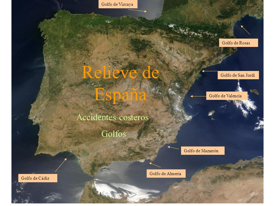 Relieve de España Accidentes costeros Golfos Golfo de Vizcaya Golfo de Cádiz Golfo de Almería Golfo de Mazarrón Golfo de San Jordi Golfo de Rosas Golf