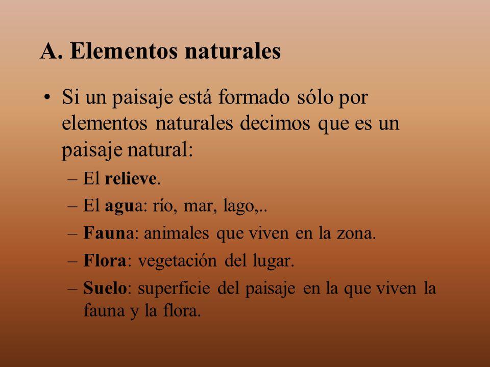 A. Elementos naturales Si un paisaje está formado sólo por elementos naturales decimos que es un paisaje natural: –El relieve. –El agua: río, mar, lag
