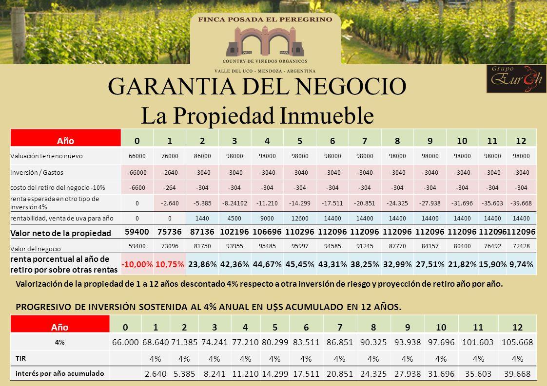 GARANTIA DEL NEGOCIO La Propiedad Inmueble Año0123456789101112 Valuación terreno nuevo66000760008600098000 Inversión / Gastos-66000-2640-3040 costo de