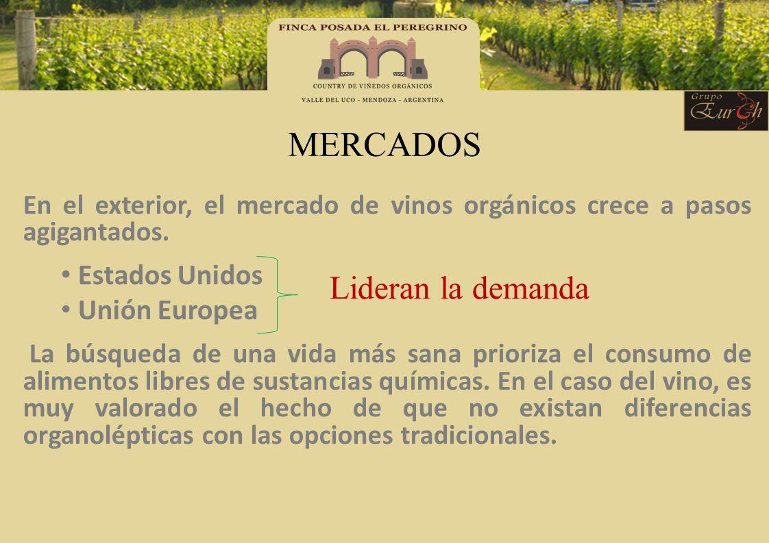 MERCADOS En el exterior, el mercado de vinos orgánicos crece a pasos agigantados. Estados Unidos Unión Europea La búsqueda de una vida más sana priori