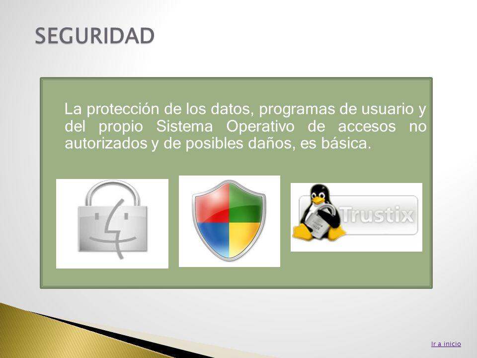 La protección de los datos, programas de usuario y del propio Sistema Operativo de accesos no autorizados y de posibles daños, es básica. SEGURIDAD Ir