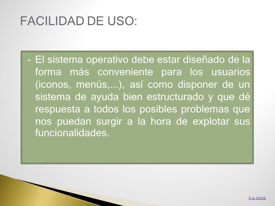 -El sistema operativo debe estar diseñado de la forma más conveniente para los usuarios (iconos, menús,...), así como disponer de un sistema de ayuda