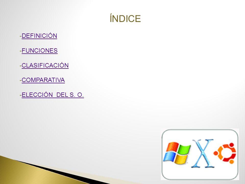 ÍNDICE -DEFINICIÓNDEFINICIÓN -FUNCIONESFUNCIONES -CLASIFICACIÓNCLASIFICACIÓN -COMPARATIVACOMPARATIVA -ELECCIÓN DEL S. O.ELECCIÓN DEL S. O.