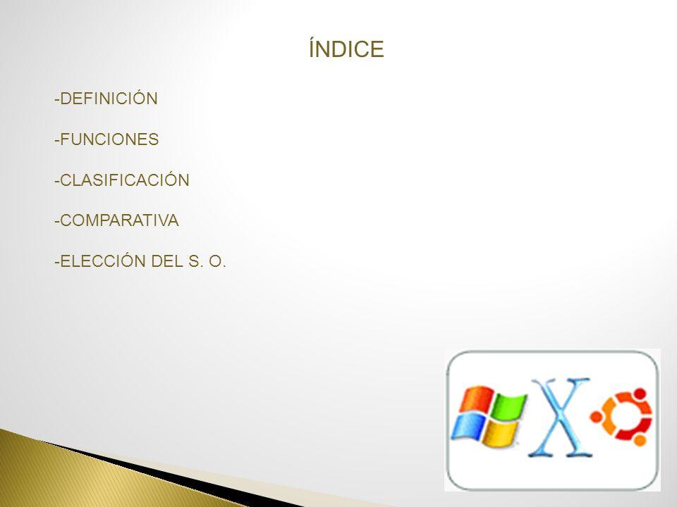 ÍNDICE -DEFINICIÓN -FUNCIONES -CLASIFICACIÓN -COMPARATIVA -ELECCIÓN DEL S. O.